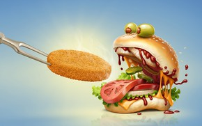 Picture rendering, food, art, tomato, olives, hamburger, fast food, cucumber, cutlet