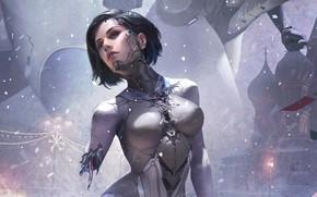 Picture girl, fantasy, robot, science fiction, blue eyes, short hair, sci-fi, digital art, artwork, fantasy art, …