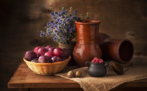 Picture flowers, berries, raspberry, table, background, food, eggs, dishes, fruit, still life, plum, items, burlap, a …