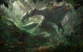 Picture fear, thickets, wolf, wool, mouth, Amanita, claws, fangs, werewolf, baby, art, League of Legends, werevolf, …