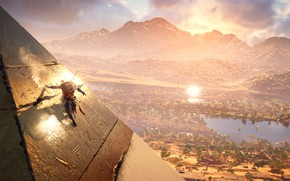 Picture The sun, Mountains, Lake, Palm trees, Pyramid, Warrior, Ubisoft, Game, Assassin's Creed Origins, Bayek