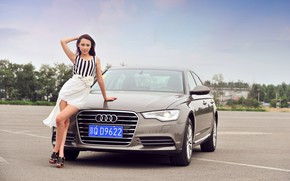 Picture auto, look, Audi, Girls, Asian, beautiful girl, posing on the car