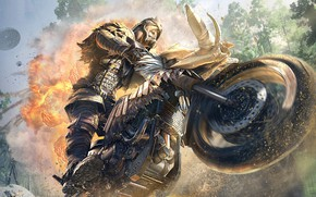 Picture movement, man, motorcycle, PlayerUnknown's Battlegrounds