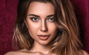 Picture look, close-up, face, background, model, portrait, makeup, hairstyle, brown hair, beauty, bokeh, Tanya, Stanislav Maximov