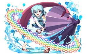Picture rainbow, umbrella, white background, blue hair, different eyes, water splashes, fun, stuck out his tongue, …
