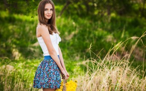 Picture flowers, basket, Girl, Alexey Gilev