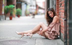 Picture look, girl, sweetheart, hair, Asian, sitting, bokeh, beautiful legs