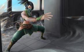 Picture girl, mask, ninja, Akali, League Of Legends