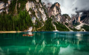 Picture clouds, landscape, mountains, nature, lake, boats, Italy, The Dolomites, Braies, Александр Безмолитвенный