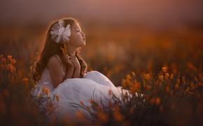 Picture flowers, dress, girl, Lisa Holloway
