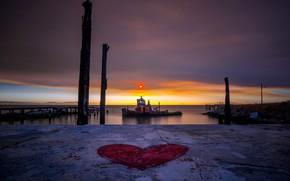 Picture night, shore, ship, port