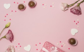 Picture flowers, background, pink, gift, candy, composition