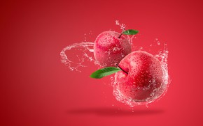 Picture water, squirt, background, apples, splash, red