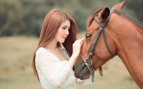 Wallpaper look, face, girl, nature, face, background, each, horse, sweetheart, horse, portrait, hands, friendship, beauty, profile, ...