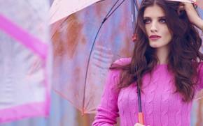 Picture look, girl, face, pose, model, umbrella, makeup, beautiful, sweater, Anna Chipovskaya
