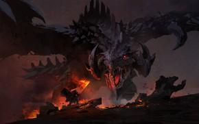 Picture dark, fire, sword, fantasy, Dragon, horns, weapon, wings, red eyes, battle, digital art, artwork, warrior, …