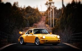 Picture Auto, Yellow, 911, Porsche, Machine, Lights, Porsche 911, Carrera, 1993, Porsche 911 Carrera, 911 Carrera …