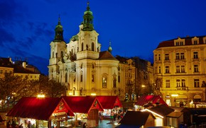 Picture the city, building, home, the evening, Prague, Czech Republic, lighting, Church