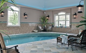 Picture room, interior, pool, house, area, cool indoor pool, small pool with blue water