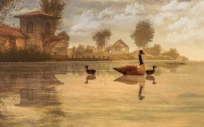 Picture the sky, trees, landscape, birds, nature, lake, house, reflection, rendering, shore, pond, goose, swimming, warm …