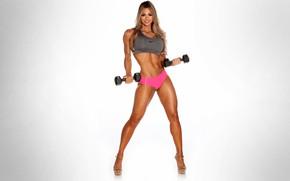Wallpaper blonde, dumbbells, fitness, Laura Michelle Prestin, Sexy Babe, sports figure