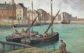 Picture picture, 1891, Sailing Boats at the Pier, Maximilien Luce, Maximilien Luce, seascape