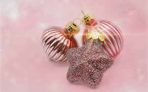 Picture Christmas, New year, pink background, Christmas decorations, Christmas decorations