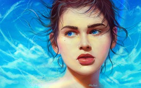 Picture Girl, Lips, Style, Face, Girl, Eyes, Art, Beautiful, Illustration, Portrait, Characters, Curls, Arthur Henri, by …