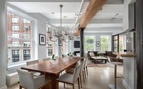 Picture interior, kitchen, New York, Manhattan, living room, dining room, Duane Street