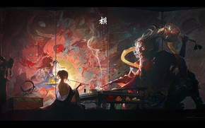 Picture Japanese, the demon, geisha, characters, screen, in the dark, from the back, youkai, at the …
