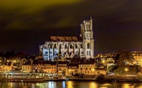 Picture night, river, Paris, Cathedral, Paris, предместье, Mantes La Jolie cathedral