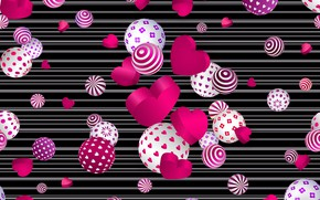 Picture balls, background, texture, hearts