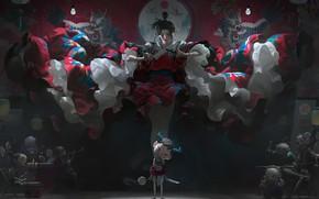 Picture girl, fantasy, artist, asian, artwork, knife, fantasy art, drawing, kimono, illustration, light bulb, fantasy girl, …