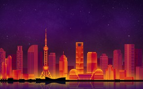 Picture The sky, Minimalism, Night, The city, Shanghai, Shanghai, Art, Digital, Illustration, Game Art, by Caio …