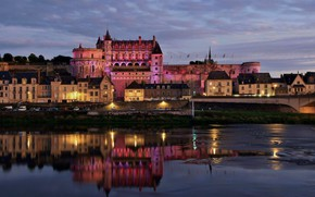 Picture the city, river, castle, France, building, the evening, lighting, backlight, Loire, Amboise