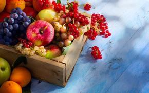 Wallpaper berries, apples, grapes, fruit, box, currants