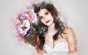 Picture flowers, background, girl art