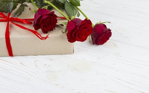 Picture love, flowers, gift, roses, red, love, romantic, valentine's day, roses, gift box