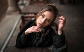 Wallpaper look, pose, model, portrait, makeup, scarf, hairstyle, brown hair, beauty, jacket, sitting, bokeh, Simona, at ...