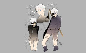 Picture background, boy, guy, Nier Automata, YoRHa No 9 Type S