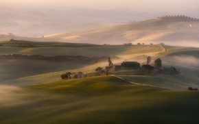 Picture mountains, fog, hills, the slopes, field, home, morning, Italy, haze, houses, cypress, Tuscany