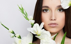 Picture look, flowers, close-up, background, portrait, makeup, hairstyle, brown hair, beauty, white, eustoma