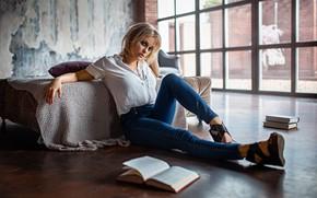 Picture girl, pose, books, jeans, Anya, on the floor, Alexander Kurennoy