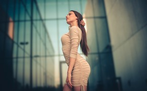 Picture model, the building, portrait, makeup, figure, dress, hairstyle, brown hair, is, posing, bokeh, Natalia, Jiri …