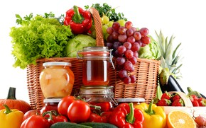 Picture basket, oranges, strawberry, honey, grapes, pepper, fruit, tomatoes