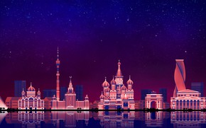 Wallpaper The sky, Minimalism, Night, The city, Moscow, Art, Moscow, Digital, Illustration, Game Art, by Caio ...
