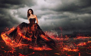 Picture dream, girl, smoke, sleep, beautiful, sexy girl, fantastic landscape, bare shoulders, charming, ball gown, застывающая …