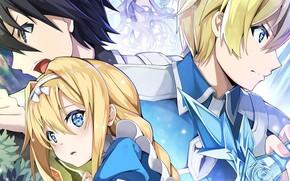 Picture girl, guys, trio, Sword ART Online, Sword Art Online Alicization