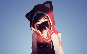 Picture Pink, Girl, Art, Anime, Shadow, Urban style, Cute, Pretty, Hood, Sweater, Necklace, Earrings, Surgical mask, …