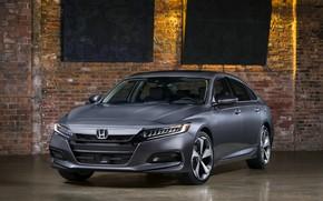 Picture light, brick, Honda, Accord, sedan, 2018, Touring, 2.0T, four-door, dark gray